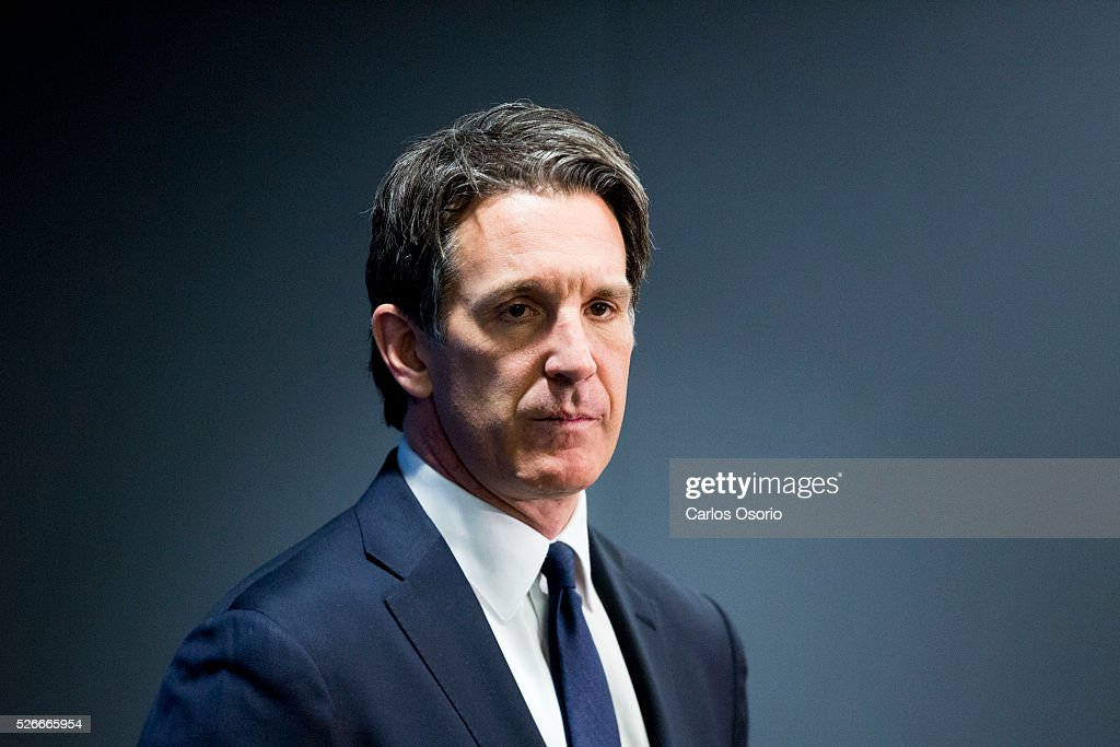 TORONTO, ON - APRIL 30 - Toronto Maple Leafs President Brendan Shanahan speaks to reporters after winning the first selection in the 2016 NHL Draft Lottery April 30, 2016.