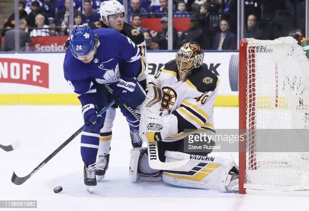 TORONTO ON APRIL 21 Toronto Maple Leafs right wing Kasperi Kapanen is stopped in front of the net by Boston Bruins goaltender Tuukka Rask as the...
