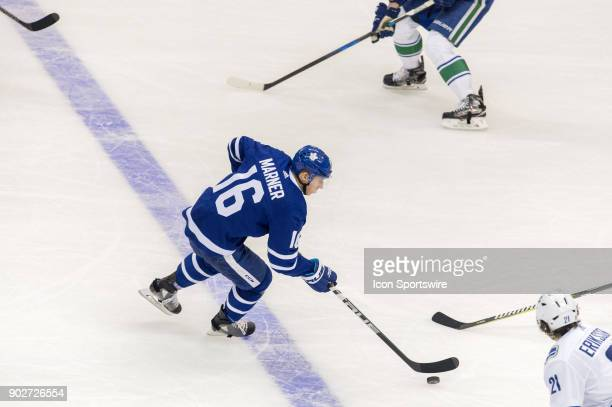 Toronto Maple Leafs Right Wing Mitchell Marner skates with the puck during the regular season NHL game between the Vancouver Canucks and the Toronto...