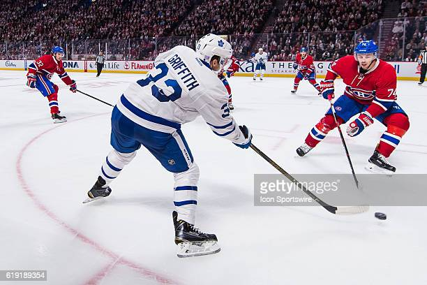 Toronto Maple Leafs Right Wing Seth Griffith shooting away in front of Montreal Canadiens Defenceman Alexei Emelin during the Toronto Maple Leafs...