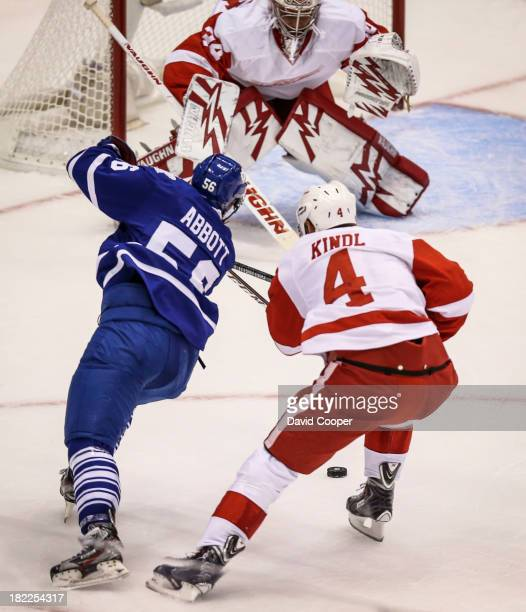 Toronto Maple Leafs right wing Spencer Abbott gets a shot off in front of the Red Wings Goalie Petr Mrazek as the Toronto Maple Leafs host the...