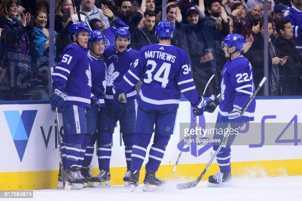 Toronto Maple Leafs Right Wing William Nylander celebrates his goal with Defenceman Jake Gardiner Center Auston Matthews and Defenceman Nikita...