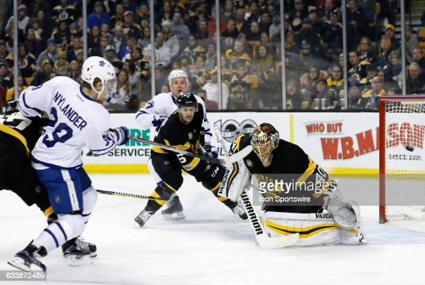 Toronto Maple Leafs right wing William Nylander scores his second of three goals on the night during a regular season NHL game between the Boston...