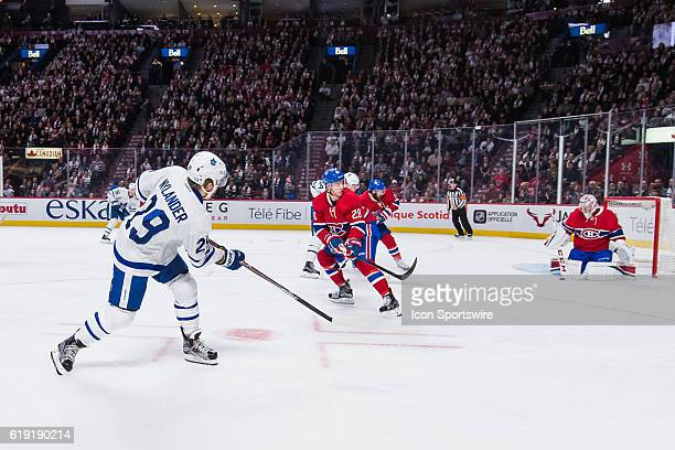 Toronto Maple Leafs Winger William Nylander shooting on Montreal Canadiens Goalie Carey Price during the Toronto Maple Leafs versus the Montreal...