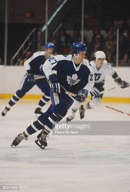 Toronto Maple Leafs's Darryl Sittler skates against the Hartford Whalers during a game at the Hartford Civic Center circa 1981 in Hartford Connecticut