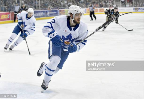 Toronto Marlies defenseman Timothy Liljegren skates to the puck during the Toronto Marlies vs the Hershey Bears AHL hockey game March 15 2019 at the...