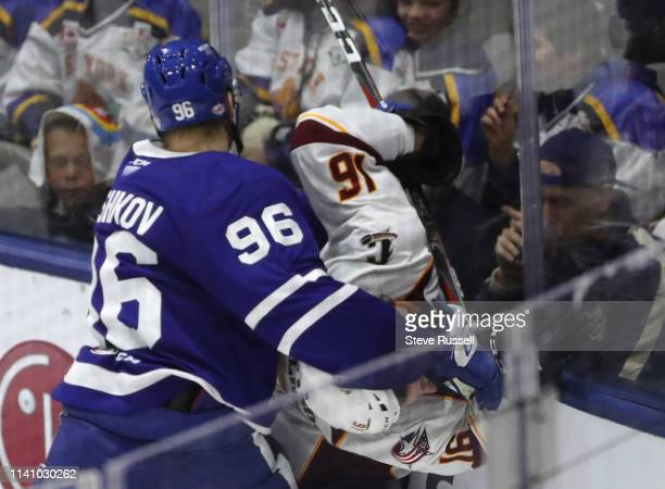 TORONTO ON MAY 3 Toronto Marlies forward Egor Korshkov gets called for his first penalty on Cleveland Monsters right wing Trey FixWolansky as the...