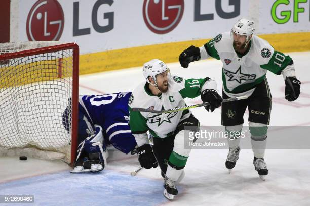 TORONTO ON Toronto Marlies goalie Garret Sparks lets one in as Curtis McKenzie of the Stars starts to celebrate with Texas Stars team mate Justin...