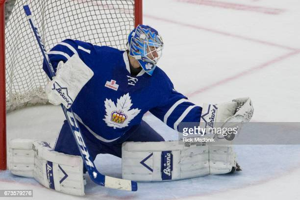 Toronto Marlies goalie Jhonas Enroth didn't snag the shot with his catcher but covered up immediately on the puck which dropped in front of him...