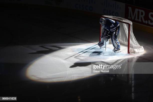TORONTO ON JUNE 3 Toronto Marlies goaltender Garret Sparks is introduced as the Toronto Marlies lose 21 to the Texas Stars in game two of the AHL...