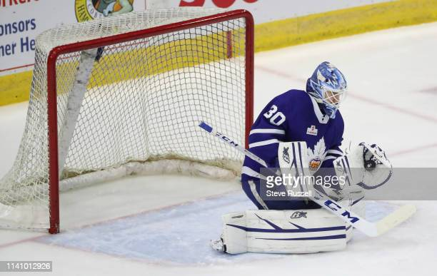 TORONTO ON MAY 3 Toronto Marlies goaltender Kasimir Kaskisuo makes a save as the Toronto Marlies play the Cleveland Monsters in game two of their...