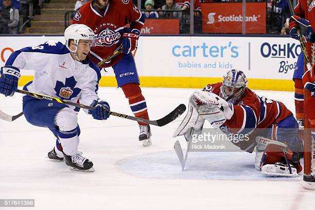 Toronto Marlies left wing Brendan Leipsic puts the puck off the goal post as St John's IceCaps goalie Zachary Fucale looks back Toronto Marlies V St...