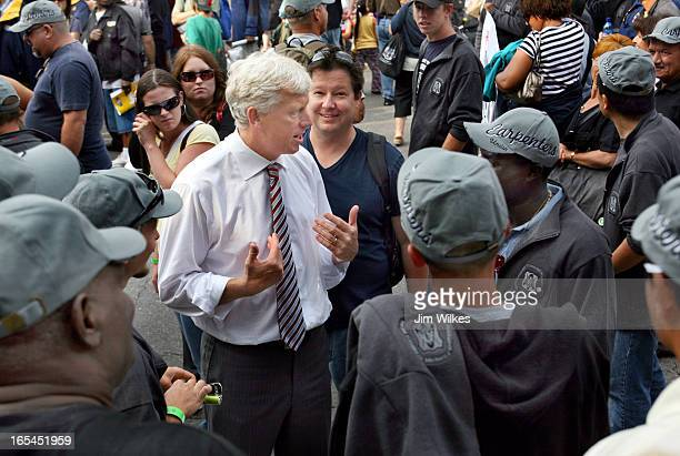 Toronto Mayor David Miller mingles with union members before annual Labour Day parade. Miller was told by parade organizers he wasn't welcome to...