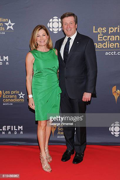 Toronto Mayor John Tory and Barbara Hackett arrive at the 2016 Canadian Screen Awards at the Sony Centre for the Performing Arts on March 13 2016 in...