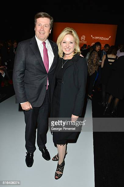 Toronto Mayor John Tory and Barbara Hackett attend Day 3 of Toronto Fashion Week Fall 2016 at David Pecaut Square on March 16 2016 in Toronto Canada