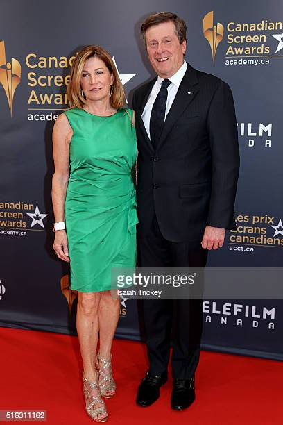 Toronto Mayor John Tory and his wife Barbara Hackett arrive at the 2016 Canadian Screen Awards at the Sony Centre for the Performing Arts on March 13...
