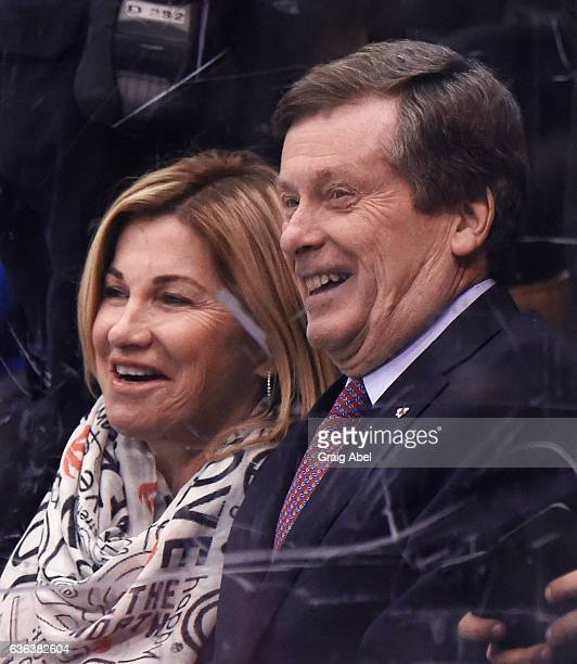 Toronto Mayor John Tory and his wife Barbara Hackett watch the NHL game between the Toronto Maple Leafs and the Anaheim Ducks at the Air Canada...