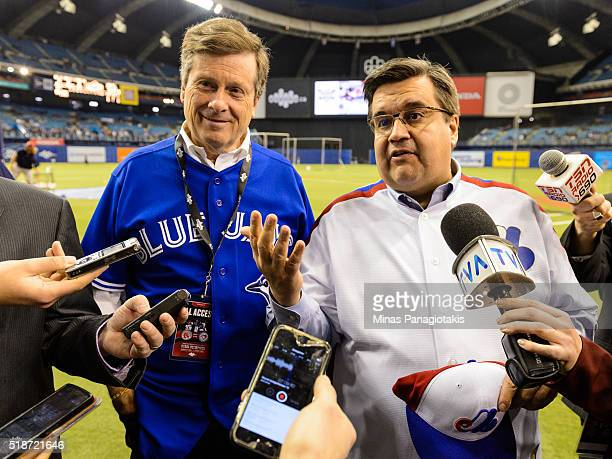 Toronto Mayor John Tory and Montreal Mayor Denis Coderre hold a press conference prior to the MLB spring training game between the Toronto Blue Jays...