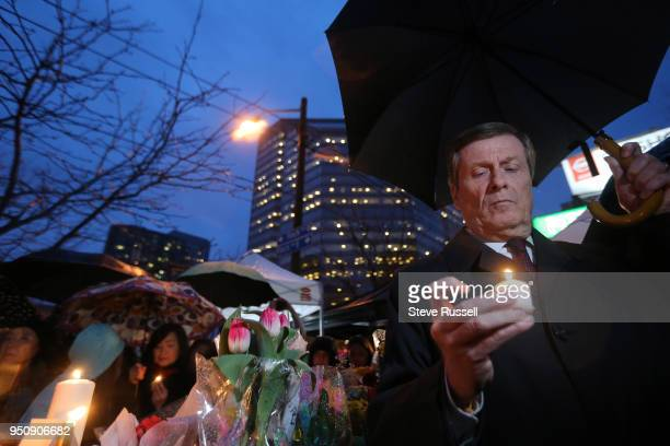 TORONTO ON APRIL 24 Toronto Mayor John Tory attends a candle light vigil held at Olive Square near Yonge and Finch Streets for the 10 people that...