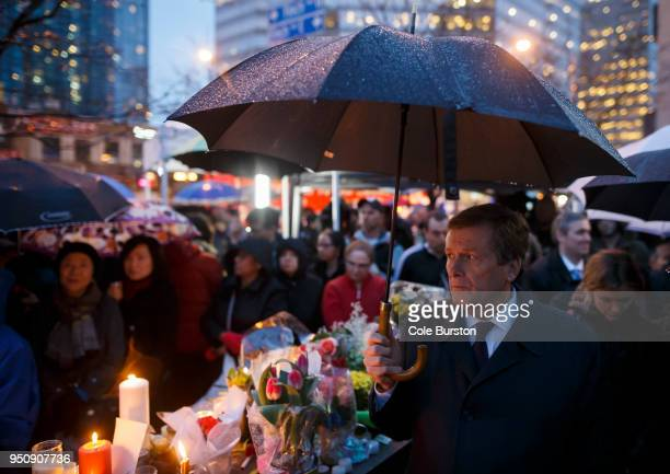Toronto Mayor John Tory attends a vigil for the victims of the mass killing on April 24 2018 in Toronto Canada A suspect identified by police as Alek...