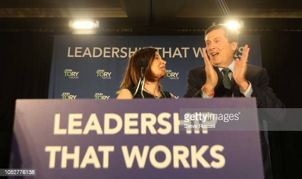 TORONTO ON OCTOBER 23 Toronto Mayor John Tory celebrates with his wife Barbara Hackett after delivering his victory speech at his post election party...