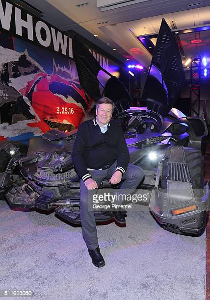 Toronto mayor John Tory checks out the Batmobile from 'Batman v Superman Dawn of Justice' at Metro Toronto Convention Centre on February 21 2016 in...