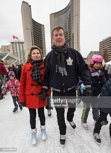 Toronto Mayor John Tory skates with his wife Barbara Hackett at Nathan Phillips Square on New Year's Day Although it's been ten years since he's last...