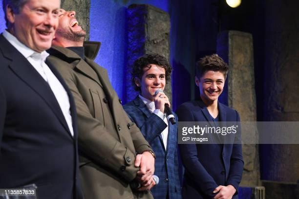 Toronto Mayor John Tory, Zachary Levi, Jack Dylan Grazer and Asher Angel attend the unveiling of the Shazam! World Exclusive Fan Experience on March...