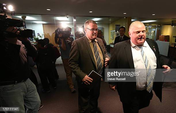 PM Toronto Mayor Rob Ford runs into children fom a Scarborough school as he leaves his office Today media identified the house where the picture of...