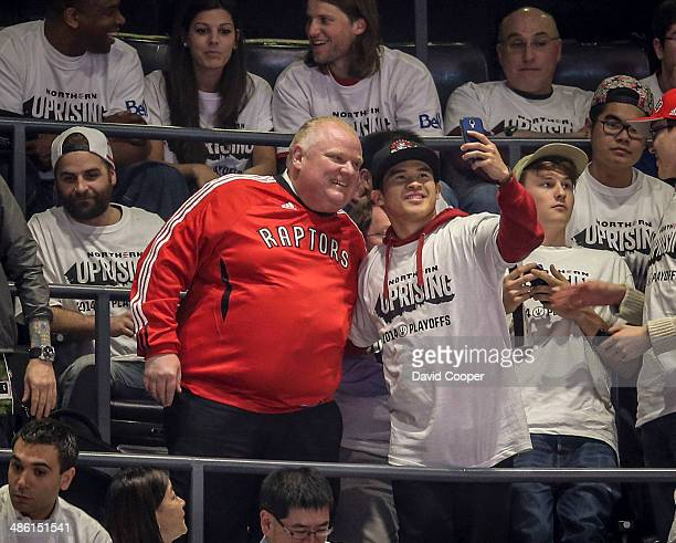 TORONTO ON APRIL 22 Toronto Mayor Rob Ford sits in section 318 six rows from the top of the building during game two between the Toronto Raptors and...