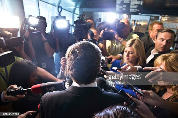 Toronto mayoral candidate John Tory scrums with the media following Monday's debate where candidates talked about arts and culture in Toronto
