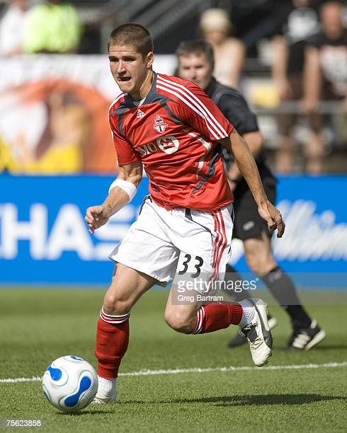 Toronto midfielder Carl Robinson carrise the ball in game action on the road against the Columbbus Crew on July 22 2007 The Crew won the game 20