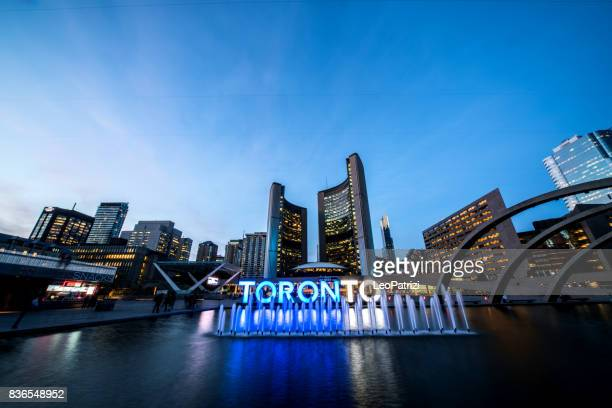 Toronto Nathan Phillips Square and the big city sign