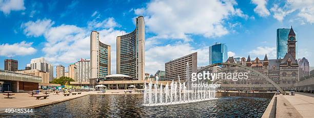 Toronto Nathan Phillips Square fountains City Hall cityscape panorama Canada