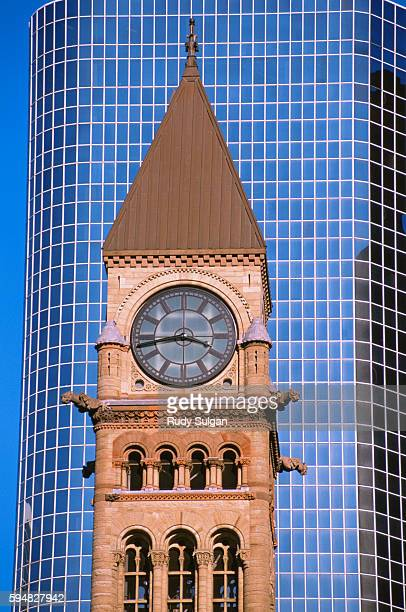 toronto old city hall and skyscraper - utc−10:00 stock pictures, royalty-free photos & images