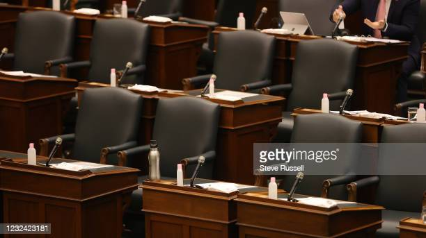 Toronto, ON- April 20 - Premier Doug Fords desk in the legislator sits empty. Members of the opposition pose questions to government representatives...