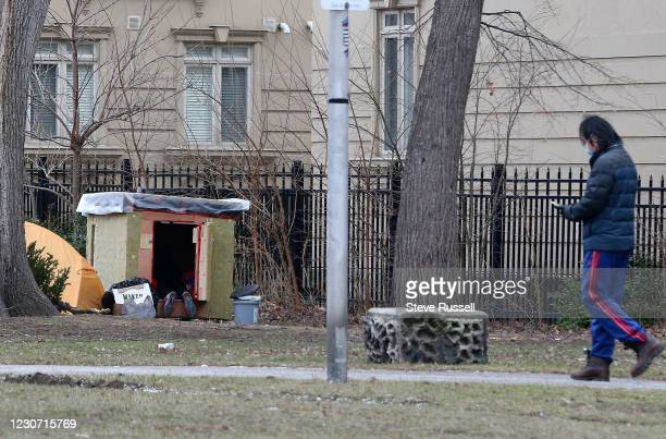 Toronto, ON- January 19 - Homeless are camped out in portable shelters in Alexandra Park near Bathurst and Dundas. Ontario faces stricter...