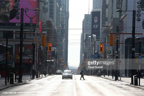 Toronto, ON- January 25 - Foot traffic at Yonge Street is light as Ontario faces stricter restrictions to slow the spread of the COVID-19 pandemic in...