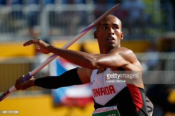 Toronto, On- JULY 23, 2015 Canada's Damian Warner competed in the javelin portion of the men's decathlon in the 2015 Pan Am games on July 23, 2015....