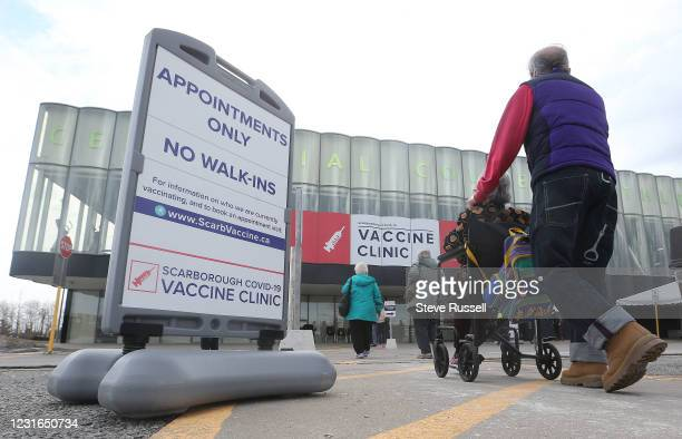 Toronto, ON- March 11 - The vaccination clinic in the athletic centre at Centennial College on Progress Avenue in Scarborough hopes to vaccine...