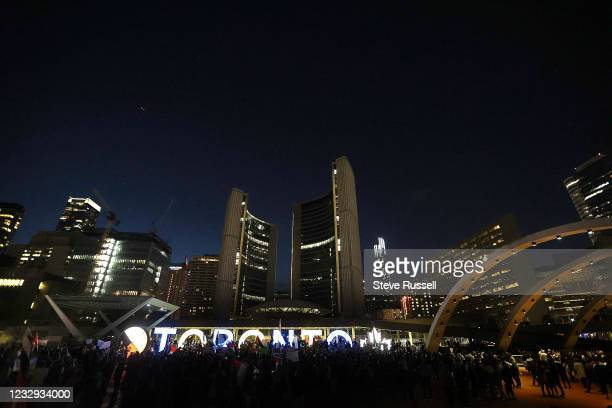 Toronto, ON- May 15 - Thousands fill Nathan Phillips Squareas the Palestinian Youth Movement hold a demonstration against the Israel/Gaza Strip...