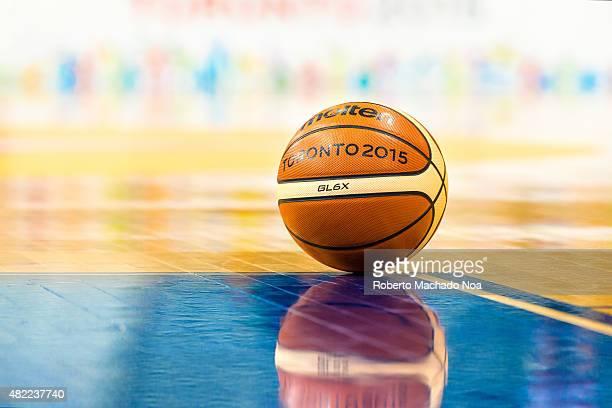 COURT TORONTO ONTARIO CANADA Toronto Pan American Games 2015 Official Molten basketball in empty court