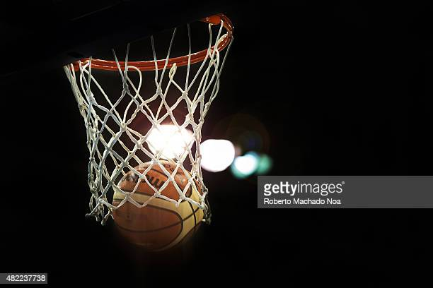 COURT TORONTO ONTARIO CANADA Toronto Pan American Games 2015 Official Molten basketball scoring two points in a high dynamic range scene with back...