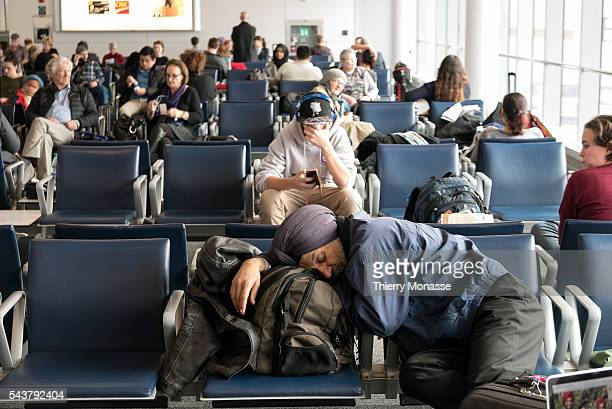 Toronto Pearson International Airport Ontario Canada January 7 2016 Passengers are waiting for their plane in Toronto airport