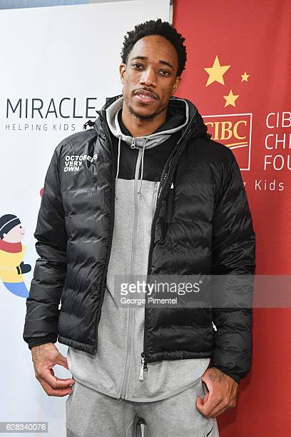 Toronto Raptor DeMar DeRozan attends the 32nd Anniversary of CIBC Miracle Day to help raise millions for kids in need on December 7 2016 in Toronto...