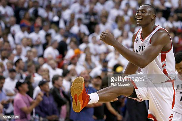 Toronto Raptors center Bismack Biyombo kicks up his foot as he goes back to the bench for a time out as Raptors take control in final minute Toronto...