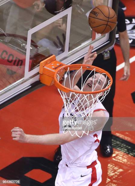 TORONTO ON MAY 3 Toronto Raptors center Jakob Poeltl lays in a shot as the Toronto Raptors play the Cleveland Cavaliers in the second round of the...