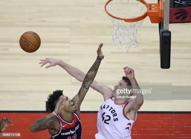 TORONTO ON APRIL 14 Toronto Raptors center Jakob Poeltl rejects Washington Wizards forward Kelly Oubre Jr as the Toronto Raptors open the first round...