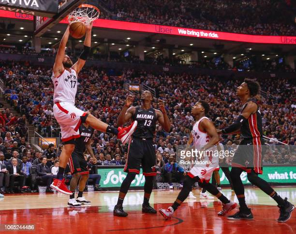 Toronto Raptors center Jonas Valanciunas on the finish after a lob pass from Toronto Raptors guard Kyle Lowry Toronto Raptors vs New Orleans Pelicans...
