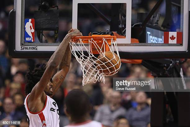TORONTO ON DECEMBER 16 Toronto Raptors center Lucas Nogueira dunks as the Toronto Raptors play the Atlanta Hawks at the Air Canada Centre in Toronto...